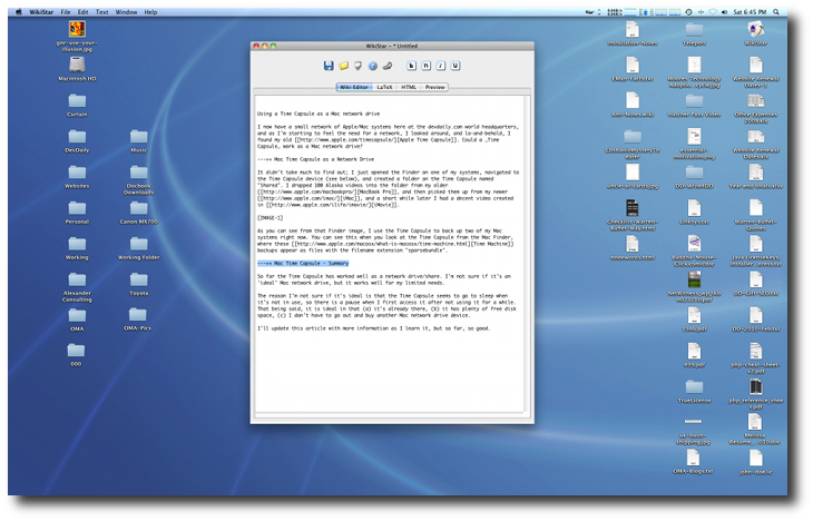 A test editor on a normal Mac OS X desktop.