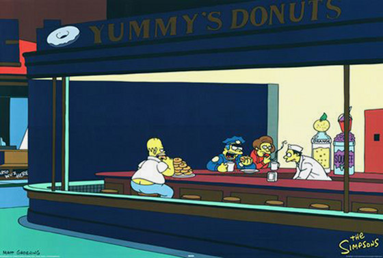 Nighthawks By Edward Hopper And The Simpsons