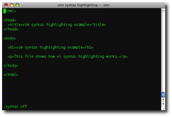 vi/vim syntax highlighting, with highlighting disabled (turned off)