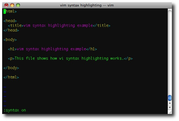 vi/vim syntax highlighting enabled